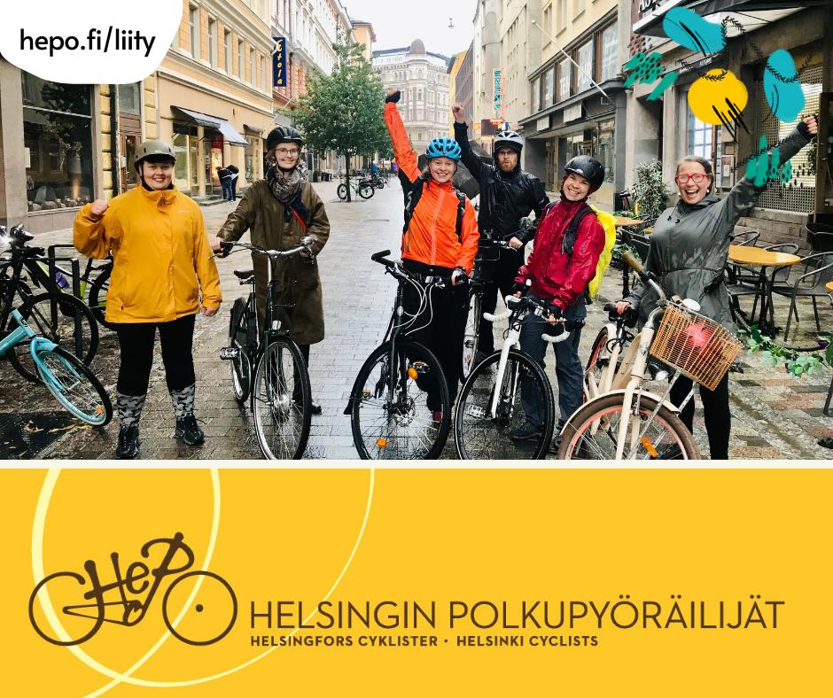 viisi iloista pyöräilijää ja Helsingin Polkupyöräilät Ry logo