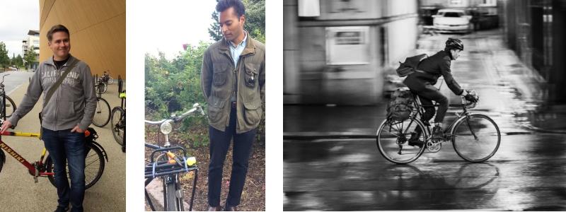 Kaksi pyöränsä vieressä seisovaa henkilöä ja yksi pyöräilevö