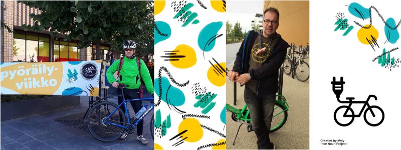 kaksi erillistä kuvaa joissa ihminen seisoo pyöränsä vieressä